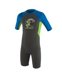 Гидрокостюм детский короткий O'Neill TODDLER REACTOR-2 2MM BACK ZIP S/S SPRING GRAPHITE/DAYGLO/OCEAN (2019)