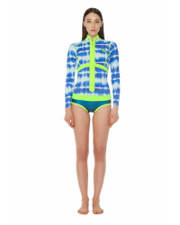 Гидрокостюм Glide Soul короткий женский длинный рукав SPRING SUIT FRONT ZIP 1mm T&D Print/Blue GS/Lemon