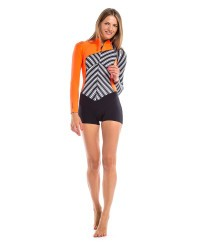 Гидрокостюм Glide Soul короткий SPRING SUIT ZIP 2mm WITH SHORTS FRONT Stripes Print/Black/Peach